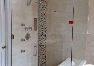 Frameless Shower Brushed Nickel Clear Glass