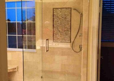 Frameless Shower Brushed Nickel Square handle Modern Clear glass