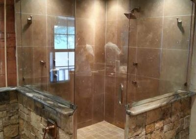 Frameless Shower Clear glass Brushed bronze hardware