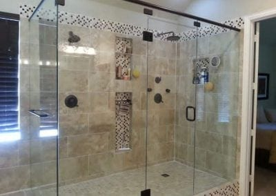 Frameless Shower Oil rubbed bronze header clear glass towel bar
