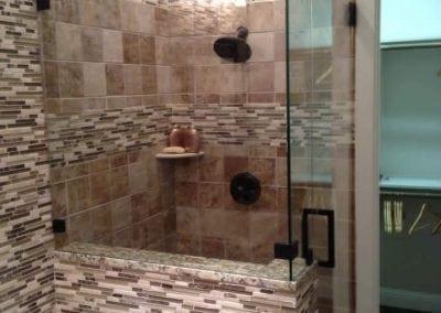 Frameless Shower Square handle Oil rubbed bronze hardware Modern Frameless Shower