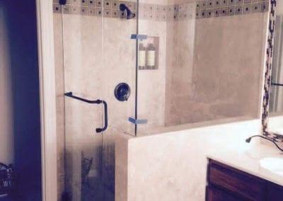 Frameless Shower Towel bar Oil rubbed bronze hardware clear glass