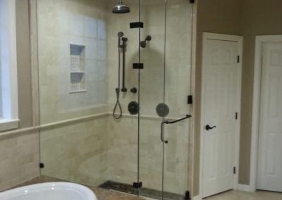 Steam Shower Frameless Clear Glass Towel bar Oil rubbed Bronze